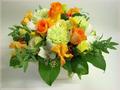 お花でキューピット・フラワーアレンジメント・デラックス(黄色系)