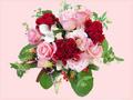贈る方の占い付き!お花でキューピット・フラワーアレンジメントデラックス  ピンク系