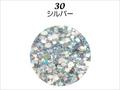 【ラメグリッター/ジェルネイル】 レーヌ森ブレンドグリッター 30.シルバー/8g(高級ネイルケース付