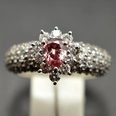 【ジュエリー/ダイヤモンド/指輪】PT ピンクダイヤモンドリング D/0.378カラット