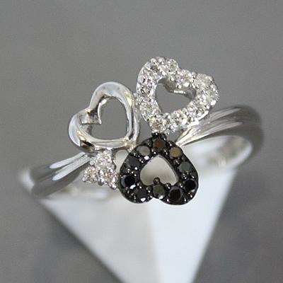 【ジュエリー/ダイヤモンド/指輪】K18WG ブラックダイヤモンドリング D/0.25カラット