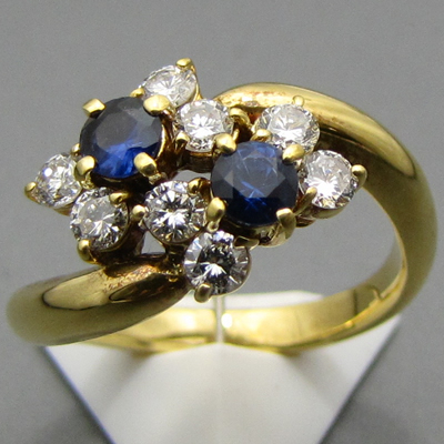【ジュエリー/サファイア/指輪】K18 サファイアダイヤモンドリング S/0.41カラット