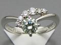 【ジュエリー/ダイヤモンド/指輪】PT グリーンダイヤモンドリング D/0.438カラット
