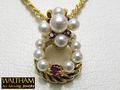 【ジュエリー/WALTHAM(ウォルサム)/ネックレス】K18YG パール&ルビーアートムービングジュエリー(Art Moving Jewelry)