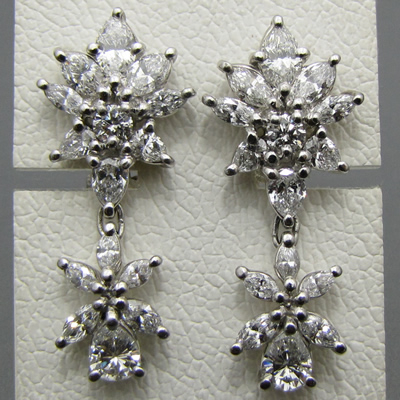 【ハイジュエリー/ダイヤモンド/イヤリング】PT ダイヤモンドイヤリング D/4.82カラット