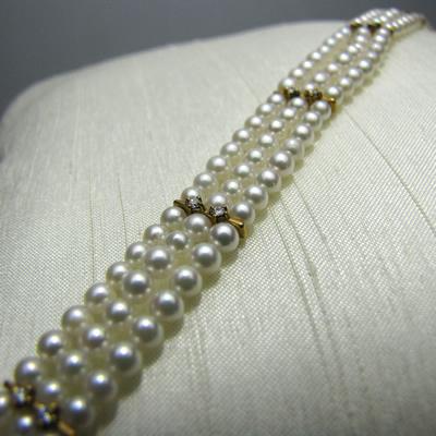 【ジュエリー/真珠/ブレスレット】K18 ベビーパール3連ブレスレット