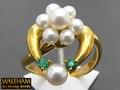 【ジュエリー/WALTHAM(ウォルサム)/指輪】K18 パール&エメラルドアートムービングジュエリー(Art Moving Jewelry)