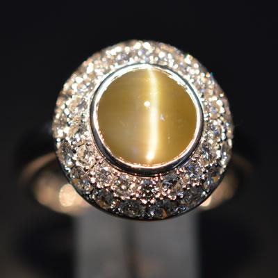 【ジュエリー/クリソベル/指輪】PTクリソベルキャッツアイリング C/3.798カラット