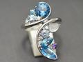 【ジュエリー/ブルートパーズ/指輪】K18WG ブルートパーズアクアマリンダイヤモンドリング 3.80カラット
