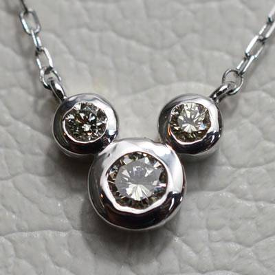 【ジュエリー/ダイヤモンド/ネックレス】K18WG ダイヤモンドミッキーペンダントネックレス D/0.20カラット