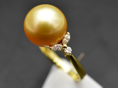【ジュエリー/パール/指輪】K18 ゴールデンパールリング 11.5mm