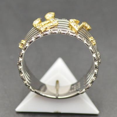 ★ 5%OFF ★【ジュエリー/ダイヤモンド/指輪】K18WGYG ダイヤモンド音符リング D/0.09カラット
