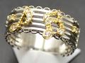 【ジュエリー/ダイヤモンド/指輪】K18WGYG ダイヤモンド音符リング D/0.09カラット