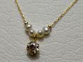 【ジュエリー/ダイヤモンド/ネックレス】K18 ダイヤモンドパールペンダントネックレス D/0.20カラット