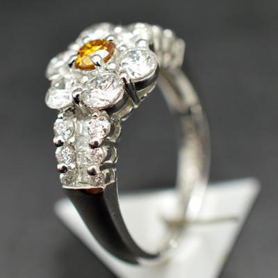 【ジュエリー/ダイヤモンド/指輪】PT ファンシーオレンジダイヤモンドリング D/0.220カラット
