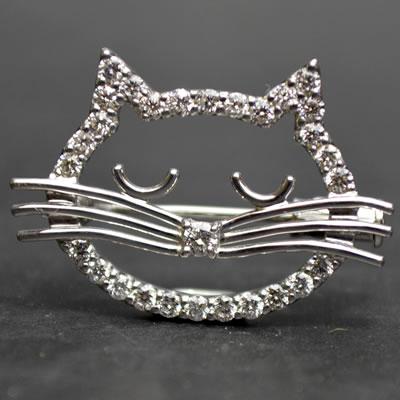 【ジュエリー/ダイヤモンド/ブローチ】K18WG ダイヤモンドブローチ D/0.6カラット