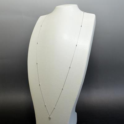 【ジュエリー/ダイヤモンド/ネックレス】PT ダイヤモンドロングネックレス D/0.20カラット