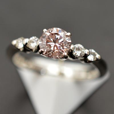 【ジュエリー/ダイヤモンド/指輪】PT ピンクダイヤモンドリング D/0.793カラット