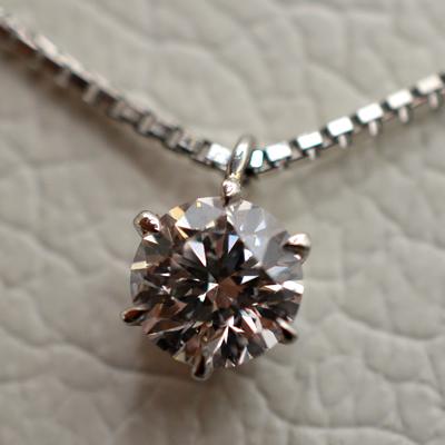 【ジュエリー/ダイヤモンド/ネックレス】PT ピンクダイヤモンドペンダントネックレス D/0.276カラット
