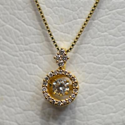 【ジュエリー/ダイヤモンド/ネックレス】K18 ダイヤモンドペンダントネックレス D/0.31カラット <ダンシングストーン>