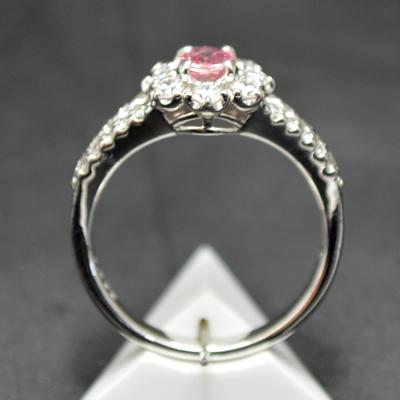【ジュエリー/パパラチアサファイア/指輪】PT パパラチアサファイアリング P/0.39カラット