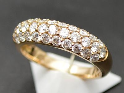 【ジュエリー/ダイヤモンド/指輪】K18PG ダイヤモンドパヴェリング D/1.01カラット