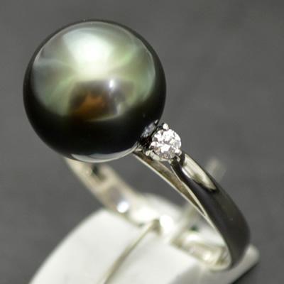 【ジュエリー/パール/指輪】PT タヒチブラックパールリング 11.1mm