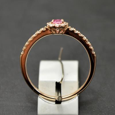 【ジュエリー/パパラチアサファイア/指輪】K18PG パパラチアサファイアリング P/0.206カラット