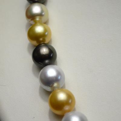 【ジュエリー/真珠/ネックレス】南洋パールマルチカラーネックレス 10.1mm〜13.9mm