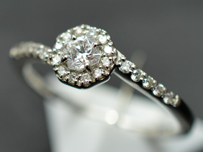 【ジュエリー/ダイヤモンド/指輪】PT フランダースカット ダイヤモンドリング D/0.18カラット