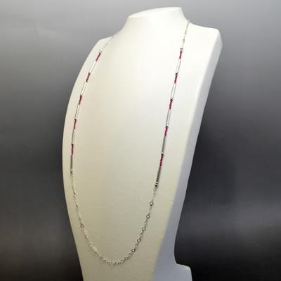 【ジュエリー/ルビー/ダイヤモンド/ネックレス】K18WG ルビーブラックダイヤモンドロングネックレス BD/3.5カラット