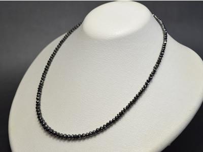 【ジュエリー/ダイヤモンド/ネックレス】K18WG ブラックダイヤモンドネックレス BD/50カラット