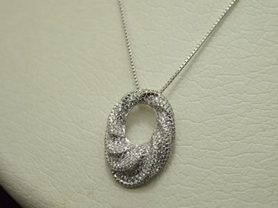【ジュエリー/ダイヤモンド/ネックレス】K18WG ダイヤモンドペンダントネックレス D/0.66カラット