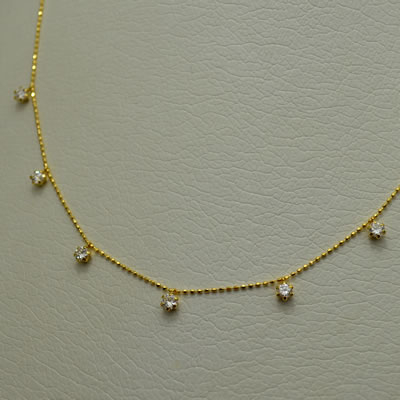 【ジュエリー/ダイヤモンド/ネックレス】K18 ダイヤモンドステーションネックレス D/0.662カラット