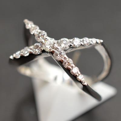 【ジュエリー/ダイヤモンド/指輪】PT ダイヤモンドクロスリング D/0.50カラット