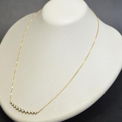 【ジュエリー/ダイヤモンド/ネックレス】K18 ダイヤモンドネックレス D/1.00カラット