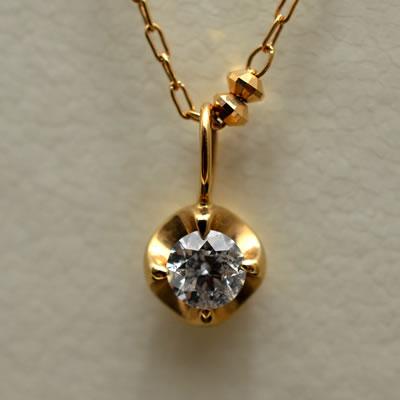 【ジュエリー/ダイアモンド/ネックレス】K18PG ダイヤモンドロングネックレス D/0.21カラット
