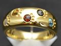 【ジュエリー/ダイヤモンド/ブルートパーズ/指輪】K18 マルチカラーリング BD/0.13カラット