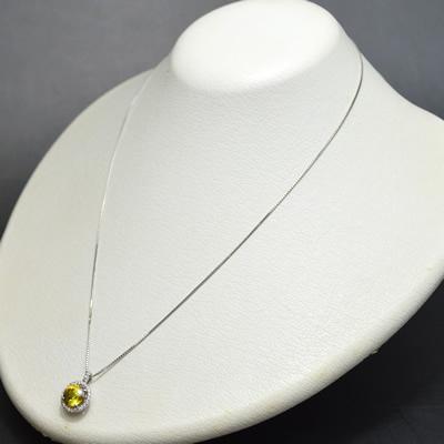 【ジュエリー/ダイヤモンド/ネックレス】PT スフェーンペンダントネックレス S/2.19カラット D/0.16カラット