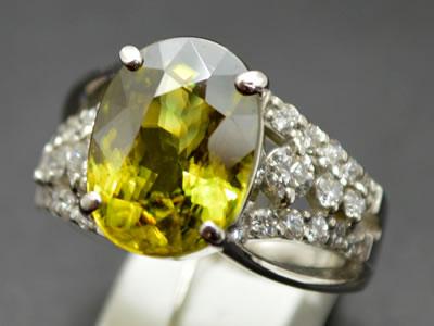 【ジュエリー/ダイヤモンド/指輪】PT スフェーンリング S/5.06カラット D/0.60カラット