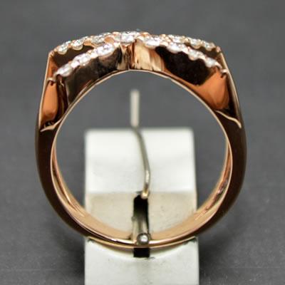 【ジュエリー/ダイヤモンド/指輪】K18PGダイヤモンドクロスリング D/0.50カラット