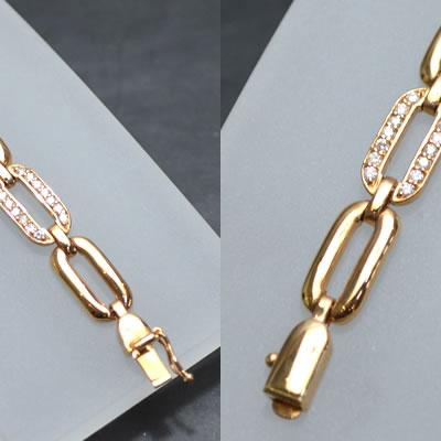 【ジュエリー/ダイヤモンド/ブレスレット】K18PG ダイヤモンドブレスレット D/1.0カラット