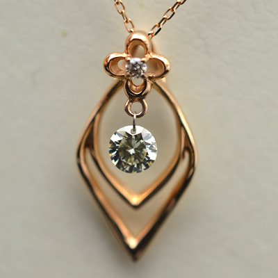 【ジュエリー/ダイヤモンド/ネックレス】K18PG揺れるダイヤモンドペンダントネックレス D/0.30カラット