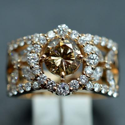 【ジュエリー/ダイヤモンド/指輪】K18PG ブラウンダイヤモンドリング D/1.935カラット
