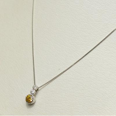 【ジュエリー/スフェーン/ダイヤモンド/ネックレス】PT スフェーンペンダントネックレス S/0.51カラット D/0.07カラット