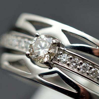 【ジュエリー/ダイヤモンド/指輪】PT ダイヤモンドリング D/0.35カラット