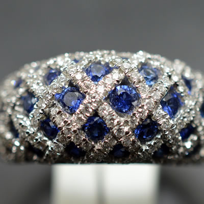 【ジュエリー/サファイヤ/指輪】K18WGサファイヤダイヤモンドリング S/1.44カラット D/0.85カラット