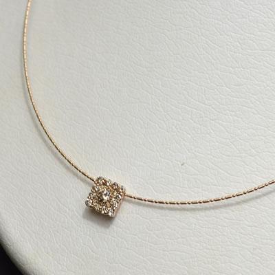 【ジュエリー/ダイヤモンド/ネックレス】K18PGダイヤモンドペンダントネックレス D/0.60カラット
