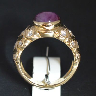 【ジュエリー/スターサファイヤ/ダイヤモンド/指輪】K18スターサファイヤダイヤモンドリング SS/7.489カラット D/0.66カラット