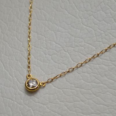 【ジュエリー/ダイヤモンド/ネックレス】K18ダイヤモンドプチペンダントネックレス D/0.09カラット